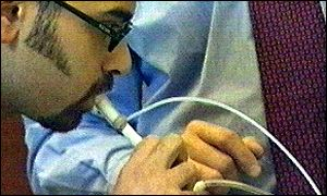 Person doing a lung test
