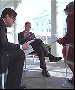 Mr Bush and White House colleagues prepares for the speech