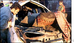The wreckage of the car in which an alleged Palestinian militant was killed