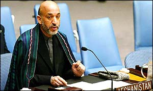Hamid Karzai speaking at the UN in New York