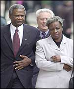 Damilola Taylor's parents Richard and Gloria arrive at the Old Bailey