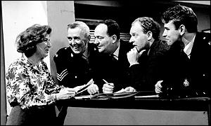 Moira Armstrong (left), Robert Keegan, Stratford Johns, Frank Windsor (second right) and Brian Blessed (right)