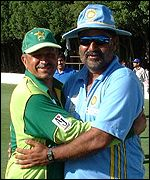 Pakistan manager Brigadier Javed Tipu and India coach Balwinder Singh Sand