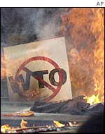 Burning anti-WTO sign