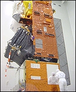 Envisat undergoing final preparations in the clean-room (BBC)