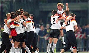 Germany celebrate their 1990 World Cup win