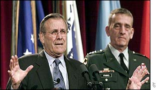 US Defence Secretary Donald Rumsfeld (left) with Central Command Commander General Tommy Franks