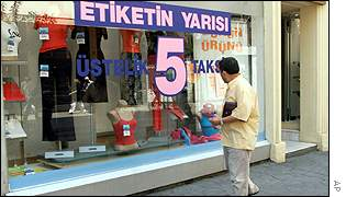 Shops displaying discounts in Turkey