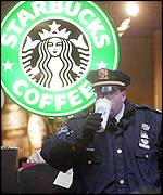 A policeman outside Starbucks