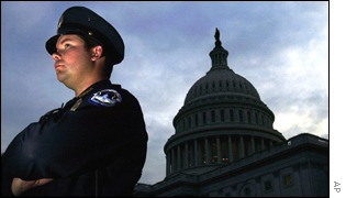 Police officer with Capitol in background