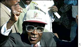 President Robert Mugabe at an election rally in 2000