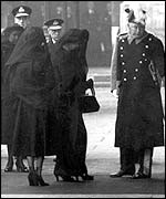 Queen Elizabeth and the Queen Mother at George VI's funeral