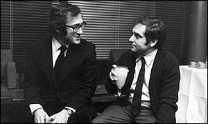 Pinter (left) with friend Henry Woolf, who directed Pinter's first play The Room in 1957
