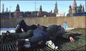 Homeless teenagers near Red Square in Moscow