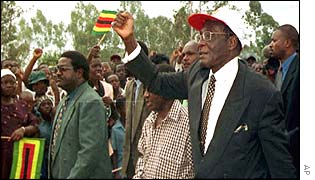 Zimbabwe President Robert Mugabe arrives at campaign rally