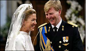 Prince Willem-Alexander and his bride, Maxima Zorreguieta