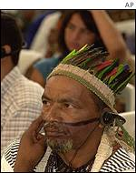Brazilian tribesman attends forum session