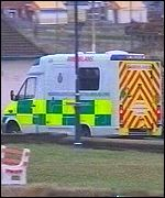 Ambulance at Porthcawl, south Wales