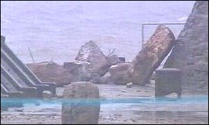 Sea wall collapsed at Porthcawl, south Wales