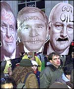 Masks of Donald Rumsfeld, George W Bush and Dick Cheney