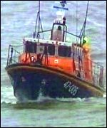 Coastguard vessel at Porthcawl, south Wales