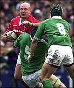 Craig Quinnell is swallowed up by the Irish defence