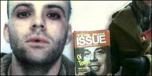 Passport photo of Richey Edwards (alongside a Big Issue vendor)