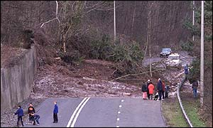 Landslide blocks the A465 Heads of the Valleys road at Clydach near Abergavenny