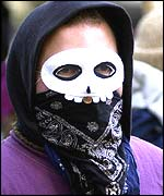 Masked demonstrator