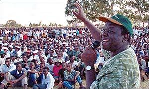 Morgan Tsvangirai at a previous rally