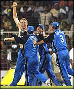 Andrew Flintoff leads England's celebrations after drawing the series