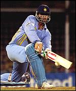Sourav Ganguly sweeps during the final one-day international