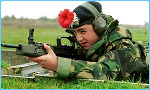 Cadet learning to use a gun