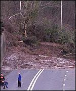 Landslide near Abergavenny blocks Heads of the Valleys