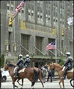 Police surrounding the Waldorf Astoria