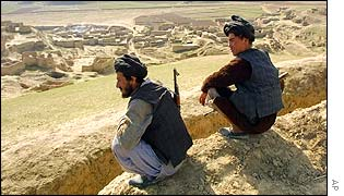 Fighters allied to General Dostum on a hillside