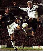 Steffen Iversen gets ahead of the Bolton defence to score Tottenham's second