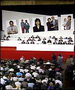 A labour party conference with a politburo style set