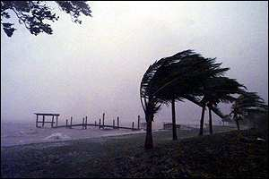 [ image: Strong winds and high surf pound the Florida Keys]