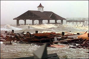 [ image: Heavy surf in Mobile Bay, Mississippi, where the hurricane hit land]