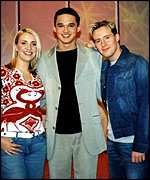 Gareth with former Steps stars Claire and H