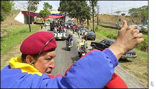 Venezuelan President Hugo Chavez and his supporters travel through Cojedes 250km(170 miles) from Caracas