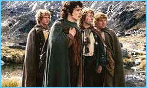 The hobbits in The Fellowship of the Ring