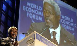 Kofi Annan addressing WEF