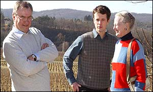 Prince Henrik (left), Prince Frederik and Queen Margrethe