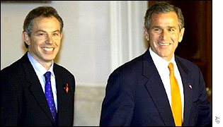 UK Prime Minister Tony Blair with US President George Bush