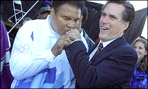 Salt Lake City supremo Mitt Romney meets Muhammad Ali