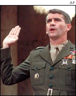 Lieutenant Colonel Oliver North at the Iran Contra hearings in 1986