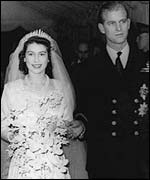 Queen Elizabeth and Prince Philip at their wedding