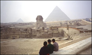 Pyramids and the Sphinx in Giza, Cairo, Egypt